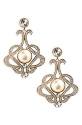 Nina Women's Crystal And Imitation Pearl Chandelier Earrings Ivory Pearl Gold