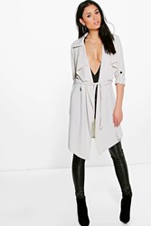 Boohoo Waterfall Belted Trench Stone