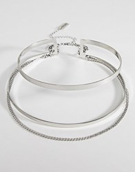 Steve Madden Cut Out Collar With Chain Choker Silver