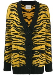 Laneus Animal Pattern Knit Cardigan Yellow