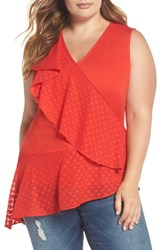 Lost Ink Plus Size Asymmetric Ruffle Top Red