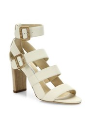 Jimmy Choo Maya Strappy Leather Sandals White Black