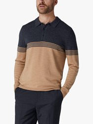 Jaeger Merino Placement Stripe Polo Top Camel