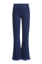 Marques Almeida Flared Jeans With Frayed Trims Blue