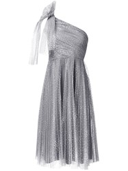 Red Valentino Dotted Tulle One Shoulder Dress Grey