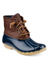 Sperry Saltwater Leather Booties Navy