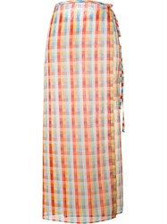 Miu Miu Checked Midi Skirt Multicolour