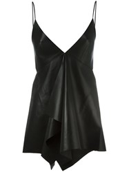 Valentino Handkerchief Hem Leather Top Black