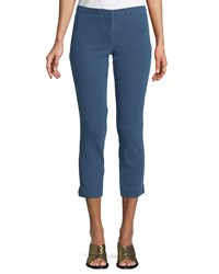 Theory Movement Denim Classic Cropped Skinny Pants Blue