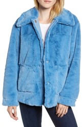 Trina Turk Salma Faux Fur Jacket Blue