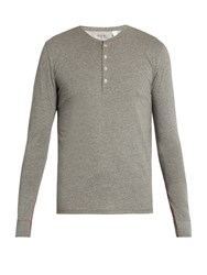 Paul Smith Long Sleeved Jersey Henley Pyjama Top Grey
