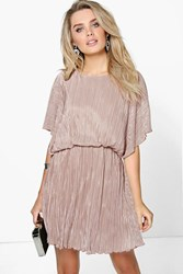Boohoo Pleated Kimono Sleeve Skater Dress Sand