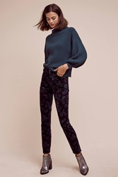 Anthropologie Pilcro Script High Rise Velvet Jeans Green Motif