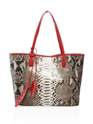 Nancy Gonzalez Python Tote Taupe Red Black