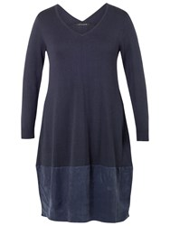 Chesca Jersey Cupro Trim Dress Navy