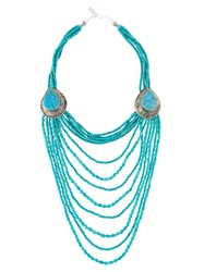 Night Market Long Beaded Necklace Blue