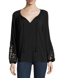 T Tahari Essex Lace Inset Blouse Black