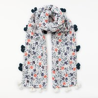 John Lewis Country Daisy Scarf Navy Mix