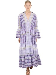 Dodo Bar Or Long Cotton Jacquard And Lace Dress Lilac