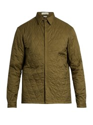 Balenciaga Zip Through Quilted Nylon Jacket Khaki