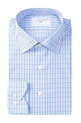 Lorenzo Uomo Long Sleeve Trim Fit No Wrinkle Plaid Dress Shirt Blue