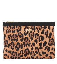 Dolce And Gabbana Leopard Printed Nylon Pouch Brown