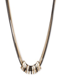 Nine West Tri Tone Crystal Large Slider Necklace Tri Tone