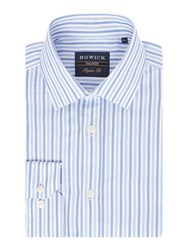 Howick Men's Tailored Rowman Textured Stripe Shirt Blue