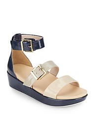 Kenneth Cole Joyce Colorblock Faux Patent Leather Flatform Sandals Navy