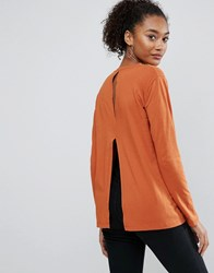 Asos T Shirt With Split Back And Long Sleeve Rust Red