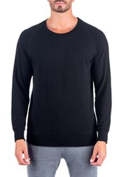 Unsimply Stitched French Terry Relaxed Neck Crew Sweater Black