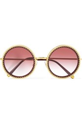 Dolce And Gabbana Round Frame Acetate Gold Tone Sunglasses Claret