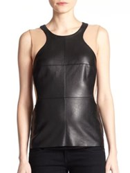 Bailey 44 Okarango Faux Leather And Knit Tank Top Black