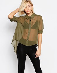 Religion Whirl Shirt In Khaki Green Khaki