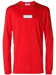 Msgm Colour Block Fitted Sweatshirt Red