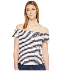 Lucky Brand Stripe Off The Shoulder Top Navy Multi Women's Clothing Blue