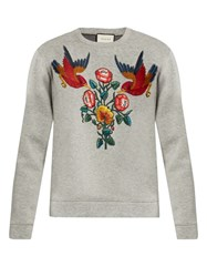 Gucci Bird And Flower Applique Cotton Sweatshirt Grey