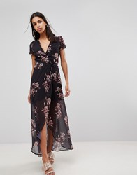 Hope And Ivy Floral Maxi Dress Black Print