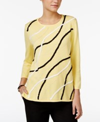 Alfred Dunner Soutache Trim Sweater Yellow