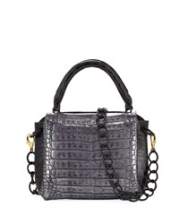 Nancy Gonzalez Tricolor Double Flap Crocodile Satchel Bag Black Silver