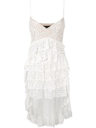Christian Pellizzari High Low Layered Lace Dress White