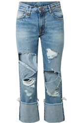 R 13 R13 Bowie Cropped Distressed Mid Rise Straight Leg Jeans Mid Denim