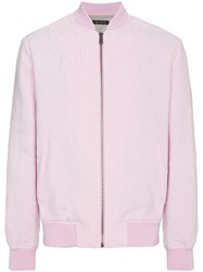 Versace Jacquard Zip Up Sweater Pink And Purple