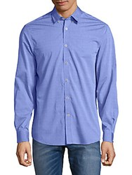 Report Collection Embroidered Cotton Button Down Shirt Blue