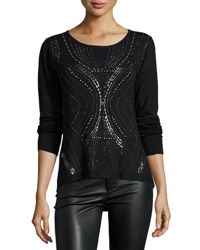 Alberto Makali Plus Long Sleeve Stud Embellished Top Black