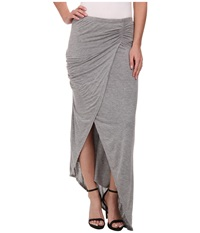 Michael Stars Collection Draped Skirt W Asymmetrical Hem Heather Grey Women's Skirt Gray