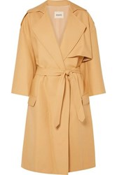 Khaite Matthias Belted Cotton Gabardine Trench Coat Sand