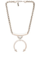Luv Aj The Barbell Ring Necklace Metallic Silver