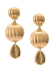 Rebecca De Ravenel Ball Shell Earrings Gold