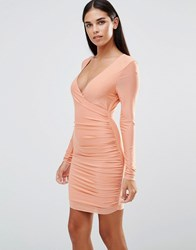 Ax Paris Long Sleeve V Front Slinky Ruched Dress Peach Pink